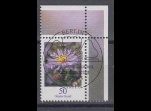 Bund 2463 Blumen (III) Herbstaster 0,50 € Eckrand rechts oben mit ESST Weiden