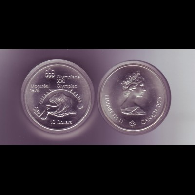 Silbermünze Kanada 10 Dollars Olympiade Montreal 1976 Kugelst. der Frauen Stgl.