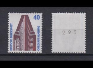 Bund 1379 v RM mit ungerader Nummer SWK 40 Pf postfrisch weiße Gummierung