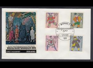Bund FDC mit 650-653 Wohlfahrt Marionetten kompl. Satz ESST Bonn 6.10.1970