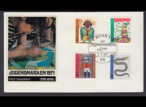 Bund FDC mit 660-663 Für die Jugend mit ESST Bonn 5.2.1971