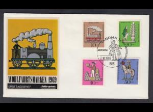 Bund FDC mit 604-607 Wohlfahrt Zinnfiguren mit ESST Bonn 2.10.1969