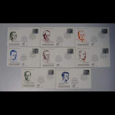 Bund 8 FDC`s mit 431-438 Den Deutschen Widerstandskämpfer ESST Bonn 20.7.1964