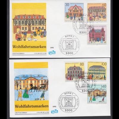 Bund FDC`s mit 1563-1568 Historische Posthäuser kompl. Satz ESST Bonn 10.10.1991