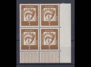Bund 348y 4er Block Eckrand rechts unten Bedeutende Deutsche 7 Pf postfrisch
