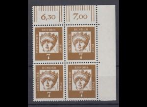 Bund 348y 4er Block Eckrand rechts oben Bedeutende Deutsche 7 Pf postfrisch