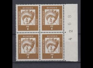 Bund 348y 4er Block mit Bogennummer rechts Bedeutende Deutsche 7 Pf **