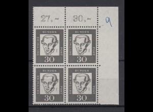 Bund 354y Eckrand rechts oben 4er Block Bedeutende Deutsche 30 Pf postfrisch /1