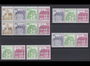 Bund Zusammendrucke W 71 - W 74 + H-Blatt 28 Burgen + Schlösser postfrisch
