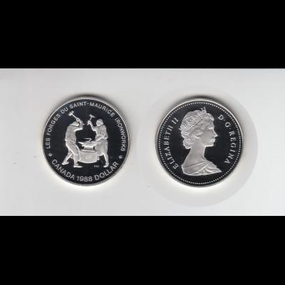 Silbermünze Kanada 1 Dollar 1988 Schmiede Saint Maurice polierte Platte