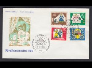 Bund FDC mit 523-526 Märchen der Brüder Grimm kompl. Satz ESST Bonn 5.10.1966