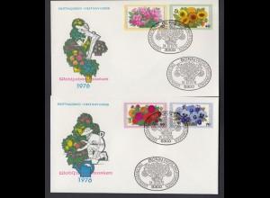 Bund 2 FDC`s mit 904-907 Wohlfahrt Gartenblumen mit ESST 14.10.1976
