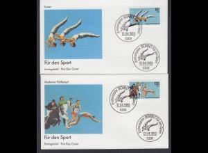 Bund 2 FDC`s mit 1172-1173 Für den Sport mit ESST Bonn 14.04.1983