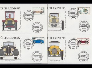 Bund 4 FDC`s mit 1123-1126 Jugend Historische Karftfahrzeuge mit ESST 15.4.1982