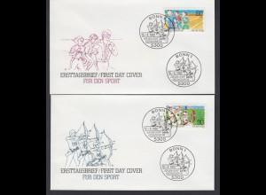 Bund 2 FDC`s mit 1127-1128 Sporthilfe mit ESST Bonn 15.04.1982