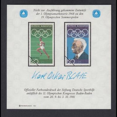 Vignette Farbsonderdruck Entwürfe 1. Olympiamarkenserie 1968