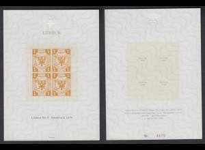 Vignette offizieller Neudruck 1978 Lübeck Nr. 2 4er Block