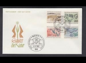 Bund FDC`s mit 591-594 Europäisches Naturschutzjahr mit ESST Bonn 4.6.1969