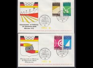Bund 2 FDC`s mit 587-590 Olympische Sommerspiele 1972 mit ESST München 4.6.1969