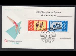 Bund FDC mit Block 12 Olympische Sommerspiele Montreal ESST Bonn 6.4.1976