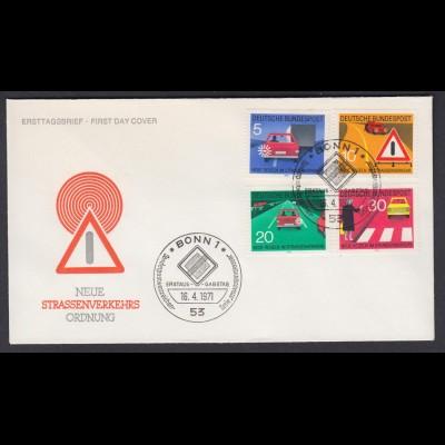 Bund FDC`s mit 670-673 Neue Regeln im Strassenverkehr mit ESST 16.4.1971
