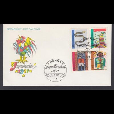 Bund FDC mit 660-663 Jugend Kinderzeichnungen mit ESST Bonn 5.2.1971