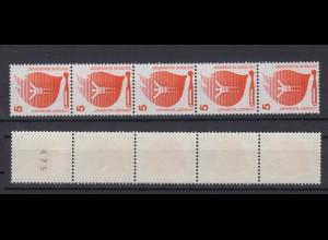 Bund 694 a RM 5er Streifen ungerade schwarze Nr. Unfallverhütung 5 Pf postfrisch
