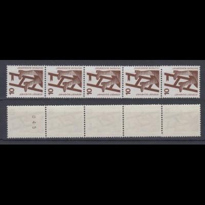 Bund 695 a 5er Streifen schwarze Nr. ungerade Nr. oben Unfallverhütung 10 Pf **