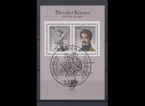 Bund Block 25 200. Geburtstag Theodor Körner 60 Pf + 100 Pf ESST Bonn 12.09.1991