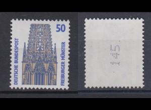 Bund 1340 A u RM mit senkrechter ungerader neuer Nummer SWK 50 Pf postfrisch