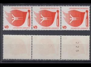 Bund 694 a 3er Streifen schwarze Nr. ungerade Unfallverhütung 5 Pf postfrisch