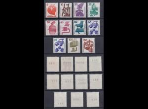 Bund ex 694-773 RM mit schwarzer Nummer Unfallverhütung 11 Werte postfrisch