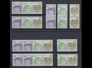 Bund 9 verschiedene Zusammendrucke Burgen + Schlösser postfrisch