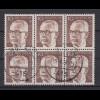 Bund 636 6er Block Gustav Heinemann (II) 10 Pf gestempelt