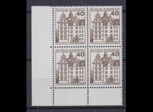 Bund 1037 4er Block Eckrand links unten Burgen + Schlösser 40 Pf postfrisch