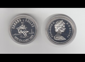 Silbermünze Kanada 1 Dollar 1975 Calgary stempelglanz