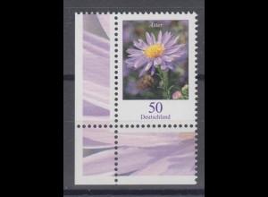 Bund 2463 Eckrand links unten Blumen Herbstaster 50 C postfrisch