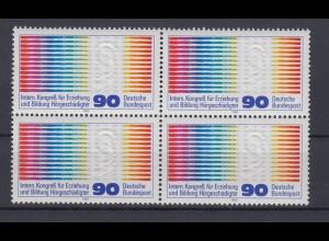 Bund 1053 4er Block Kongress Hörgeschädigter Hamburg 90 Pf postfrisch