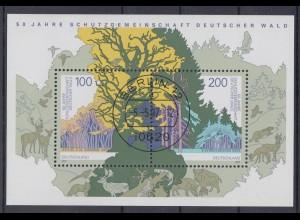Bund Block 38 Deutscher Wald 1997 100 Pf + 200 Pf ESST Berlin Tagesstempel