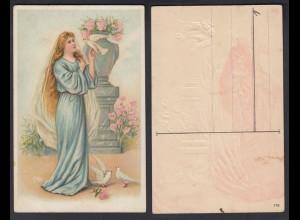 Ansichtskarte mit Frau und weißen Tauben mit Schattenbild auf der Rückseite