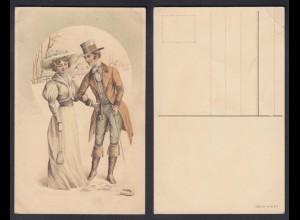 Ansichtskarte Mann und Frau Winterimpressionen Karte nicht gelaufen