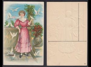Ansichtskarte mit Frau und 10 weißen Tauben Karte nicht gelaufen