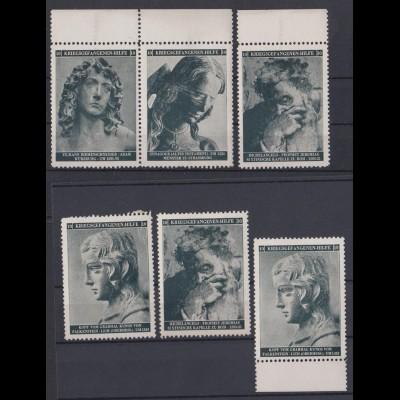 Vignetten 6 Stück Kriegsgefangenen Hilfe z.B. Riemenschneider, Michelangelo,