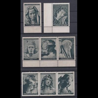 Vignetten 8 Stück Kriegsgefangenen Hilfe z.B. Kopf der Gepa, Der Retter