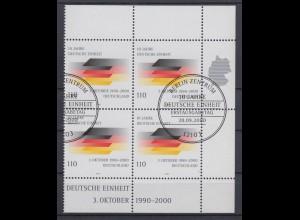 Bund 2142 4er Bl. Eckrand rechts 10 Jahre Deutsche Einheit 110 Pf ESST Berlin