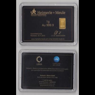 Goldbarren Heimerle + Meule 1 Gramm im Blister