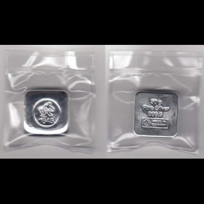 Silberbarren 50 Gramm gegossen Heimerle eingeschweist
