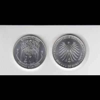 Silbermünze 20 Euro 2016 GrimmsMärchen Rotkäppchen stempelglanz