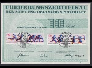Bund Förderungszertifikat Sporthilfe Mi.Nr. 1009-1010 ESST Bonn 1990