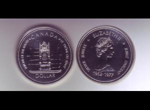 Silbermünze Kanada 1 Dollar 1977 Thronbesteigung stempelglanz